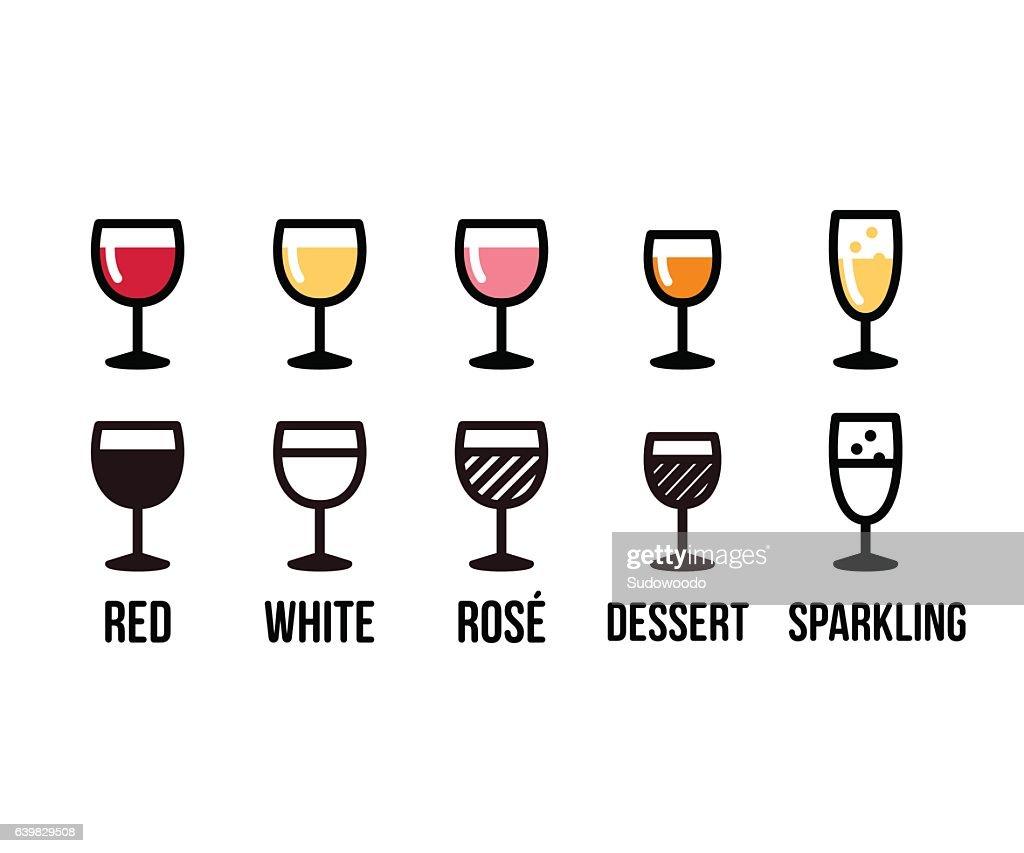 Wine types icon set