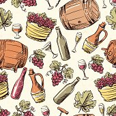 Wine vintage hand drawn seamless pattern.