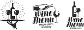 Wine, winery icon or icon, emblem. Label for menu design restaurant or cafe. Lettering vector illustration