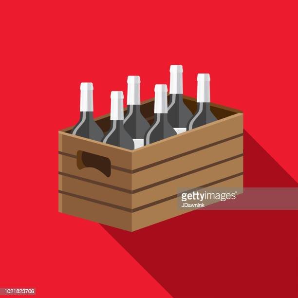 Wine wooden crate Flat Design themed Icon Set with shadow