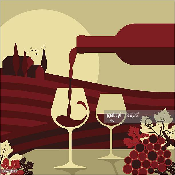 wine,glass bottle vino vin vineyard grape,winemaking - tuscany stock illustrations, clip art, cartoons, & icons