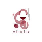 Wineglasses. Tasting, menu, wine list. Vector illustration in a modern style.
