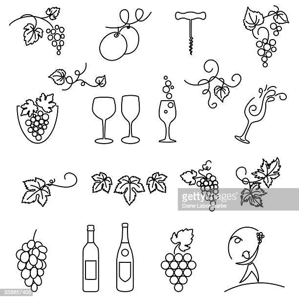 winery grapes thin line art icon set - grape stock illustrations