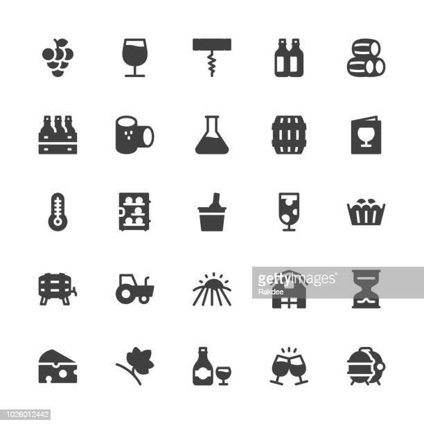 winery icons - gray series - maroon stock illustrations
