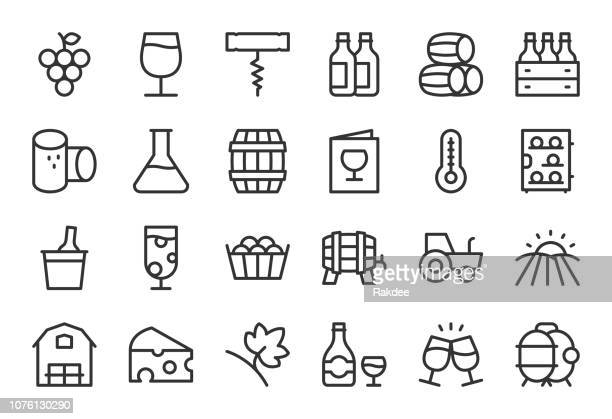 winery icons - light line series - wine stock illustrations