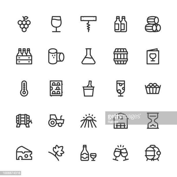 winery icons - line series - storage room stock illustrations, clip art, cartoons, & icons
