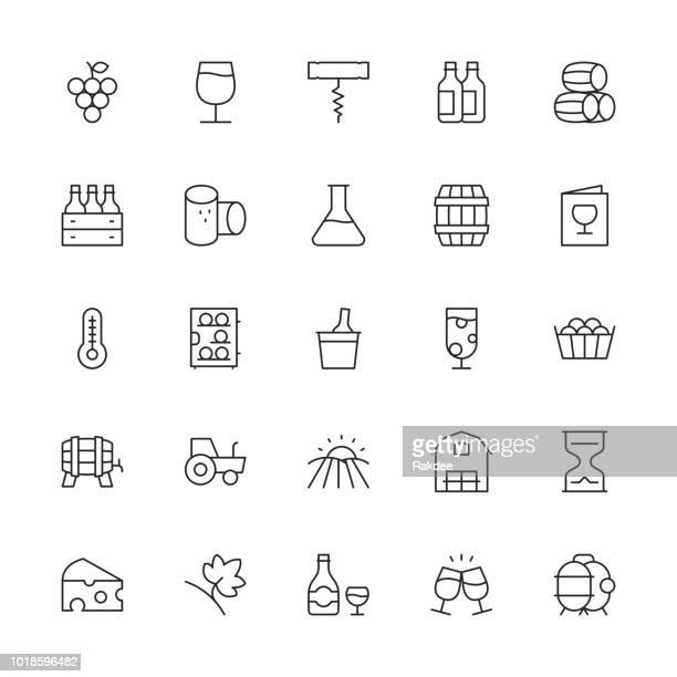 winery icons - thin line series - wine stock illustrations