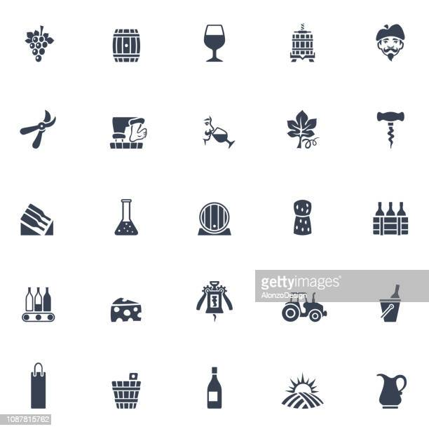 winery icons - vine stock illustrations