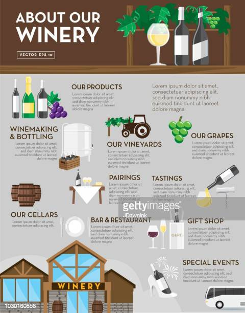 winery sales sheet design template layout - distillation stock illustrations, clip art, cartoons, & icons