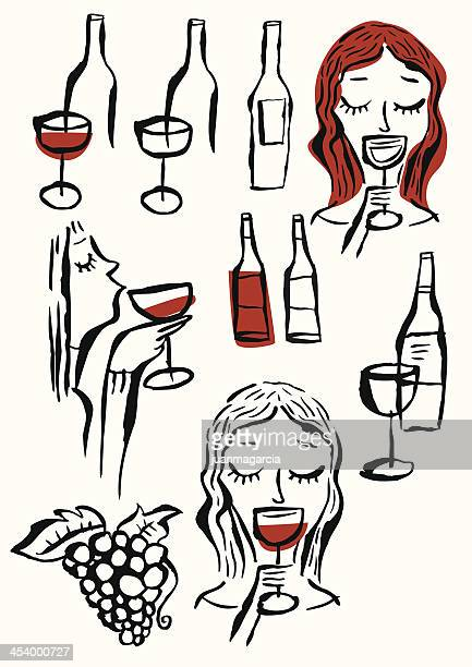 wines , glasses, woman tasting wine, grape and bunch of grapes. - mulled wine stock illustrations, clip art, cartoons, & icons