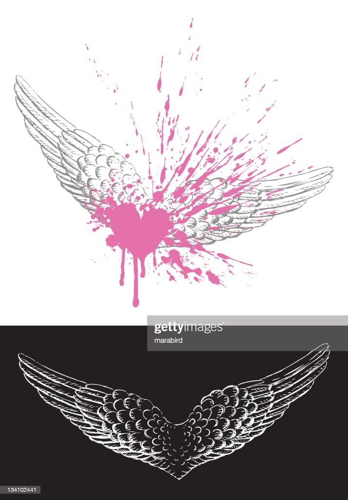 Wing Drawing with Heart Grunge