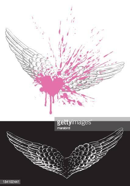 Asa de Avião desenho Grunge com Coração