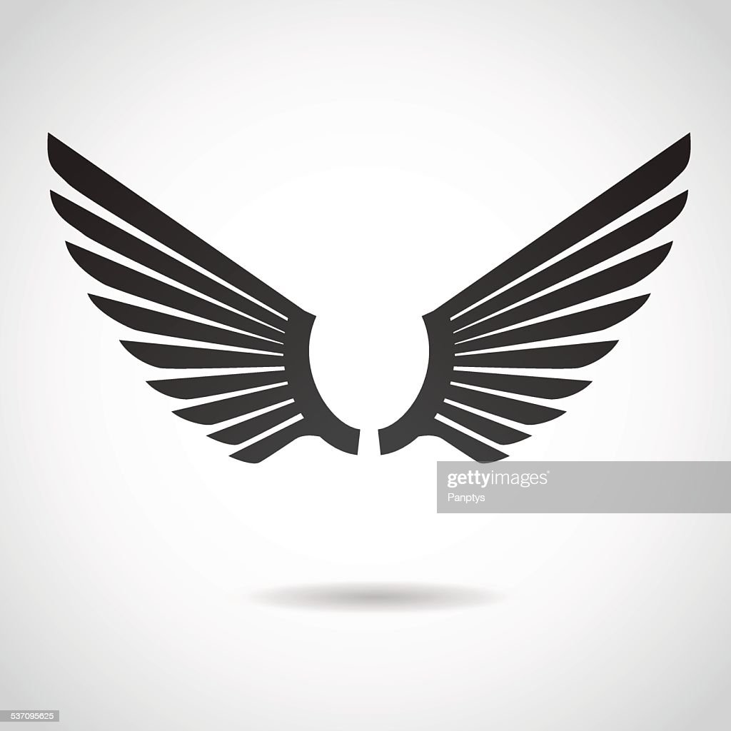 Wing icon isolated on white background.