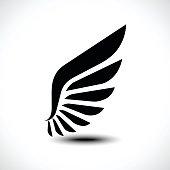 Wing icon isolated on white.background