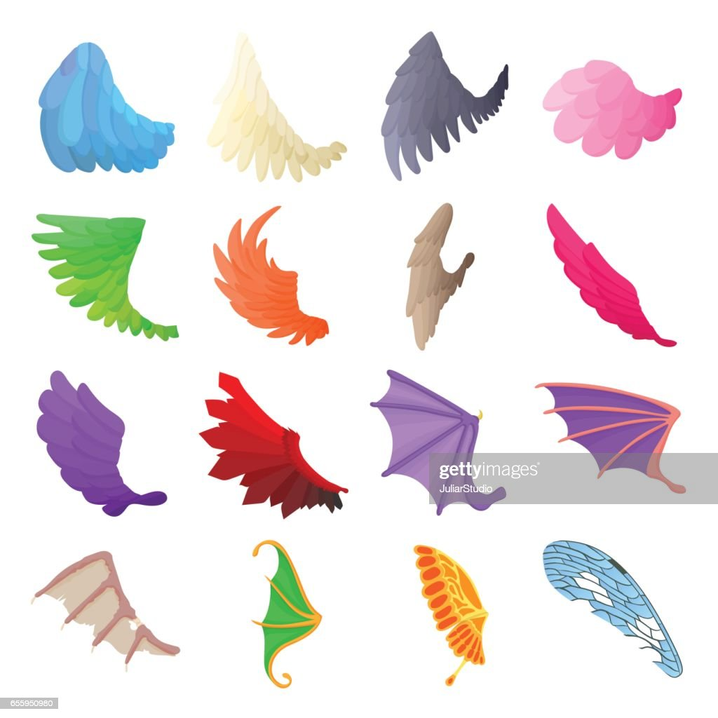 Wing icons set