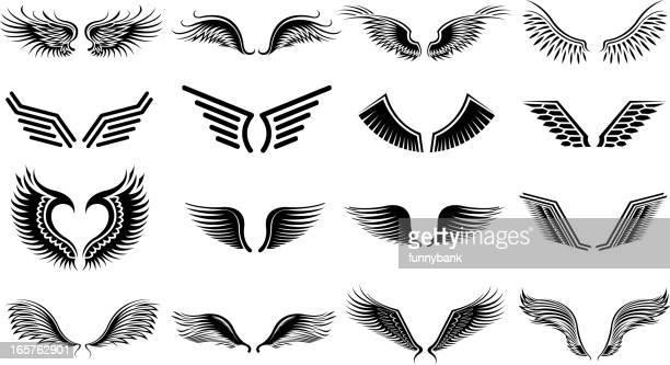 ilustraciones, imágenes clip art, dibujos animados e iconos de stock de ala de símbolos - alas de angel
