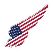 Wing with american flag on white background. Vector illustration