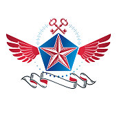 Winged ancient pentagonal Star emblem decorated with keys, security theme. Heraldic vector design element, guaranty symbol.  Retro style label, heraldry.