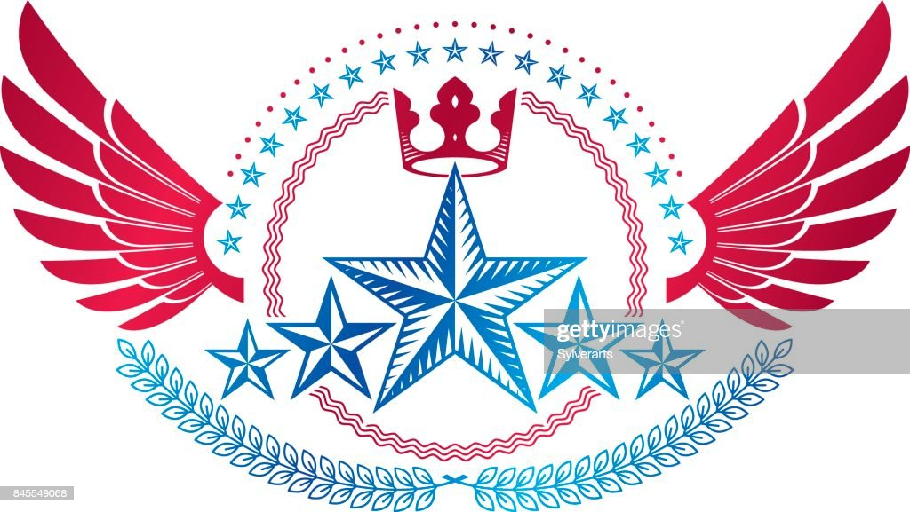 Winged ancient Star emblem decorated with imperial crown. Heraldic vector design element, 5 stars award symbol.  Retro style label, heraldry.