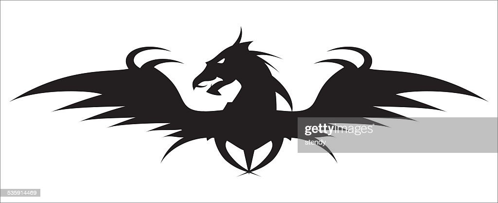 Winged Dragon. Dragon Head. : Vector Art