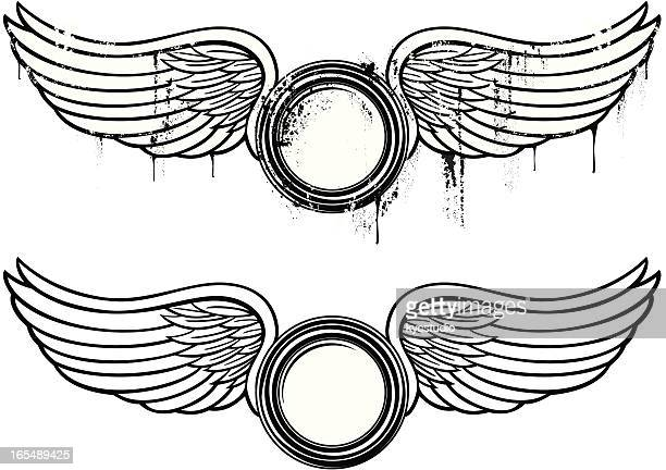 ilustraciones, imágenes clip art, dibujos animados e iconos de stock de emblema de alas - alas de angel