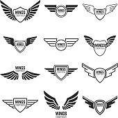 Winged emblems, frames, icons, angel and phoenix wings. Design elements for emblem, sign, brand mark. Vector illustration.