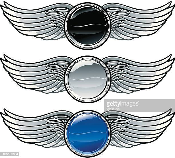 winged emblems with buttons - brooch stock illustrations