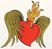 Winged Flaming Heart