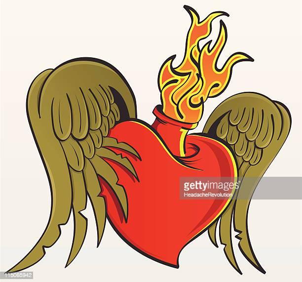 De Flaming coração com asas