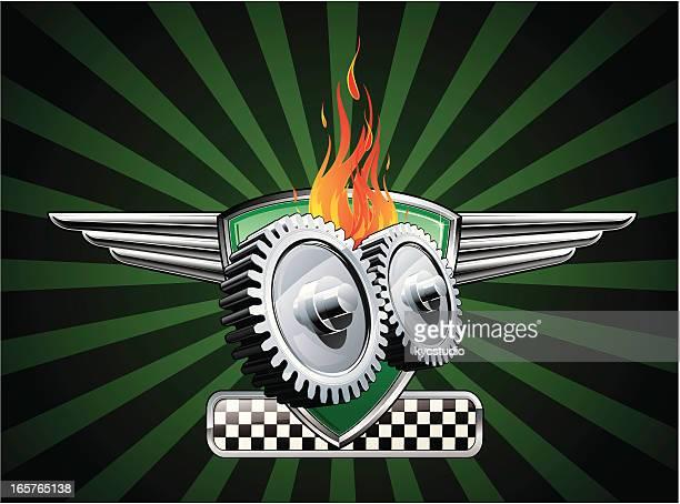 winged gears emblem - gearshift stock illustrations, clip art, cartoons, & icons