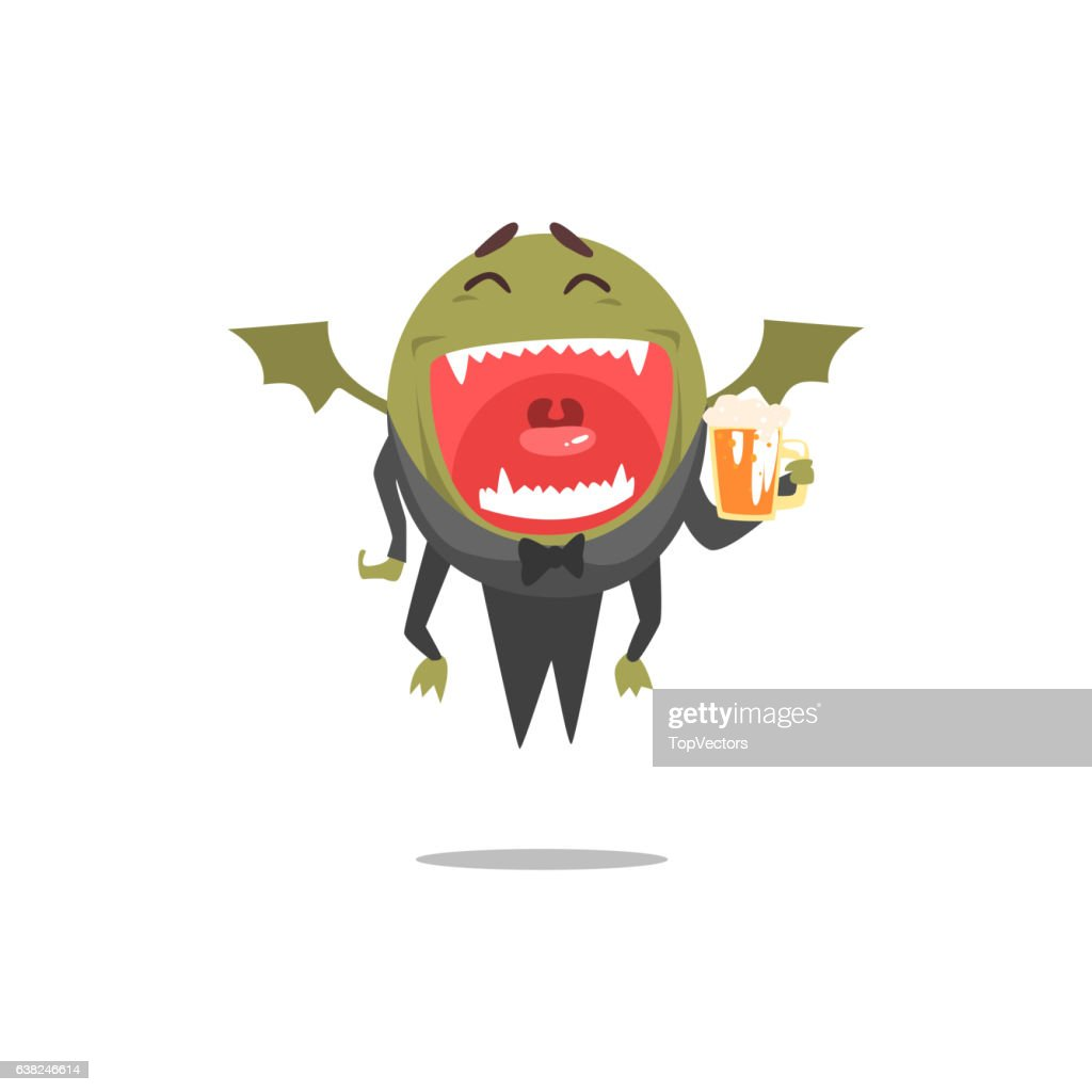 Winged Green Monster Wearing Tails Laughing And Drinking