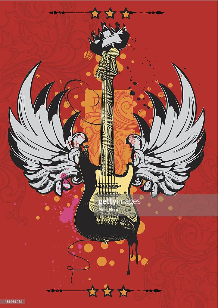Winged guitar poster