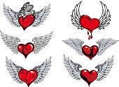 Winged heart icons and tattoos