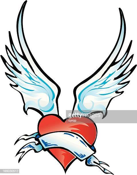 VECTOR coração com asas