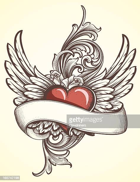 bildbanksillustrationer, clip art samt tecknat material och ikoner med winged heart with scroll tattoo - tatuering