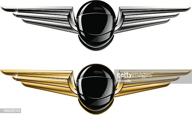 illustrations, cliparts, dessins animés et icônes de winged casques - casque de moto