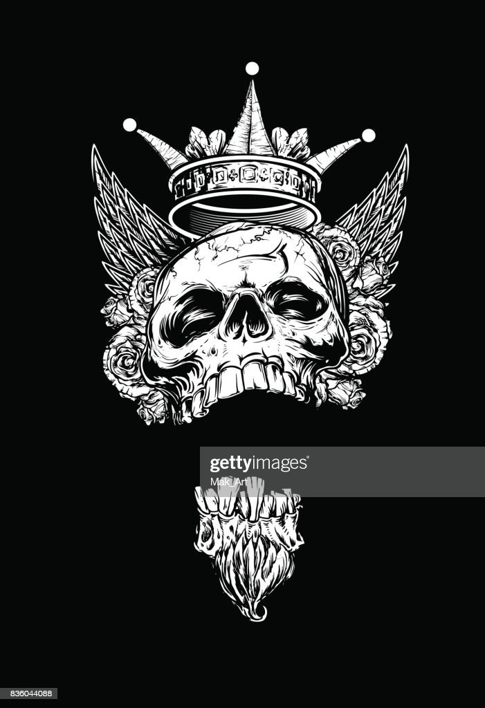 Winged King Skull with Roses and Crown