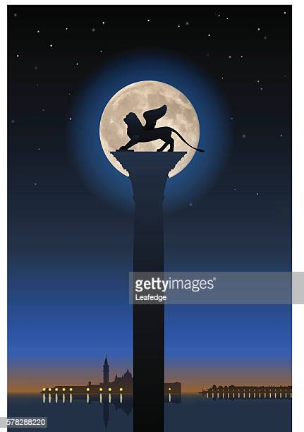 winged lion and full moon - venice italy stock illustrations, clip art, cartoons, & icons