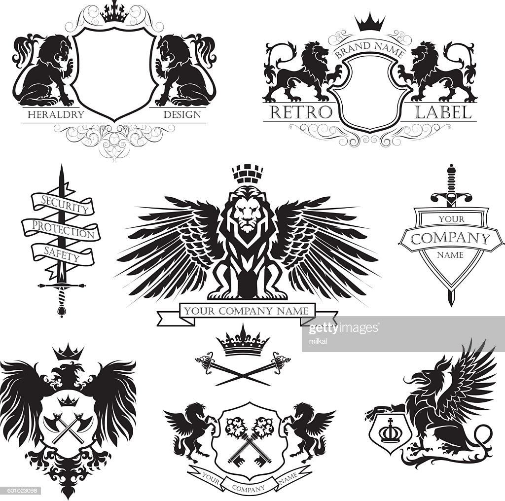 Winged lion set coat of arms