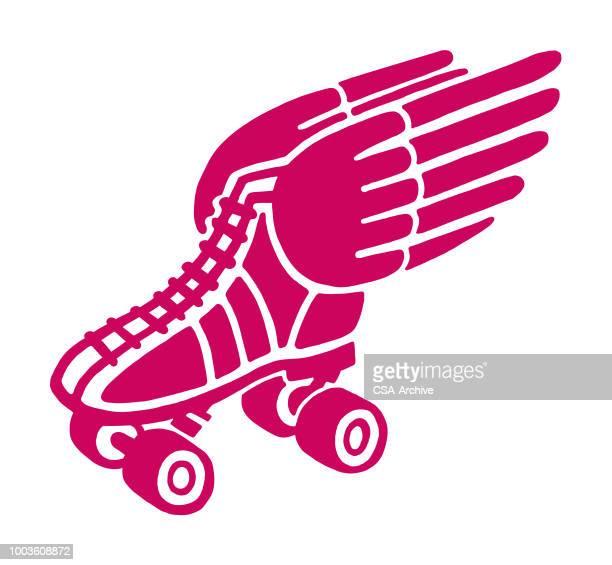 winged roller skate - roller skating stock illustrations