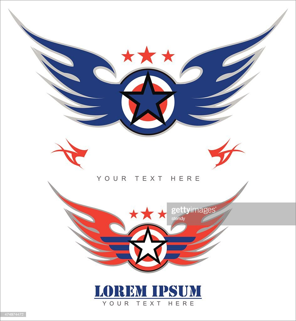 winged shield and star shape icon
