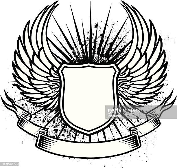 winged shield tattoo - phoenix mythical bird stock illustrations, clip art, cartoons, & icons
