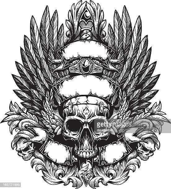 bildbanksillustrationer, clip art samt tecknat material och ikoner med winged skull banner and flourish with sword - tatuering
