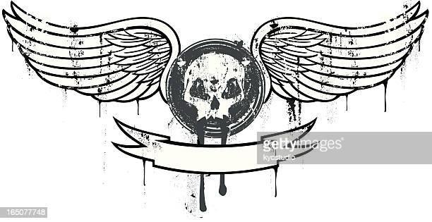 Caveira com asas emblema