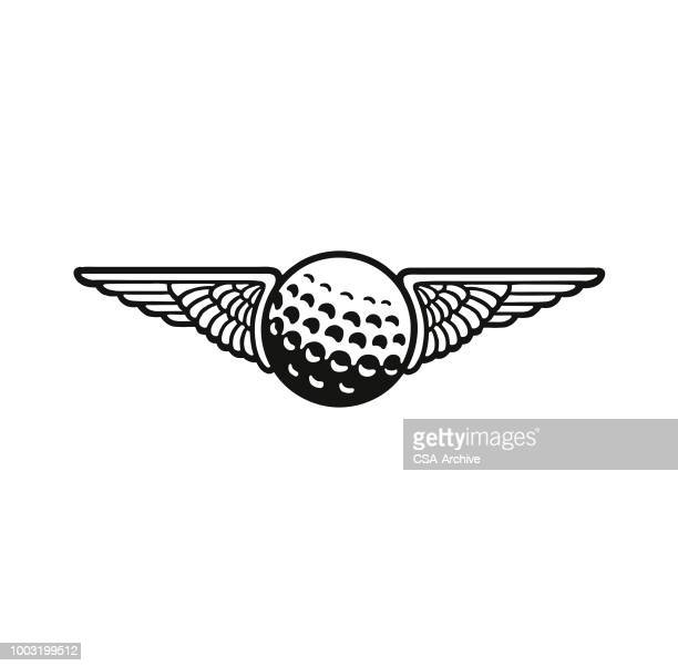 wings and a golf ball - golf ball stock illustrations