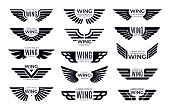 Wings badges. Flying emblem, eagle bird wing and winged frame vector set