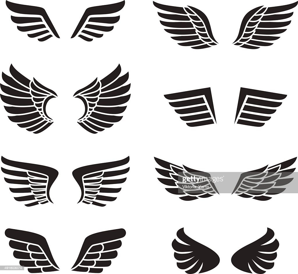 Wings black icons vector set (silhouettes). Minimalistic design.