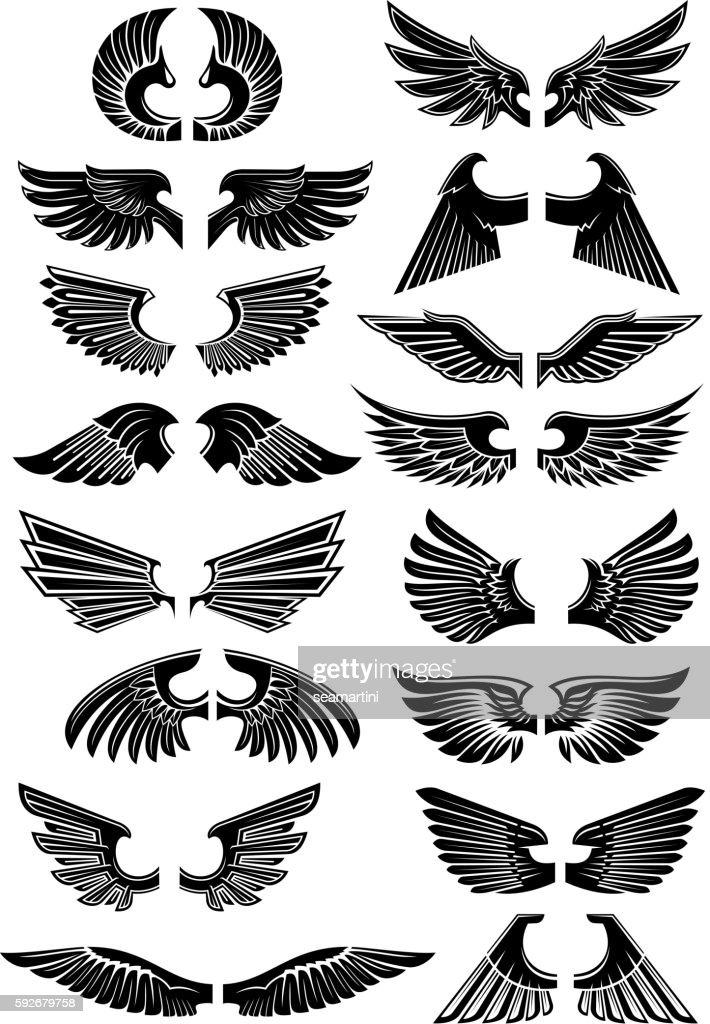 Wings heraldic icons symbols