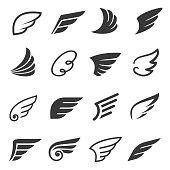 Wings icon set, angel or bird symbol