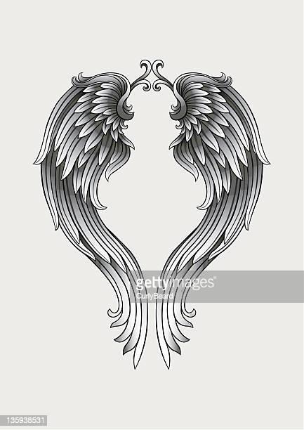 ilustraciones, imágenes clip art, dibujos animados e iconos de stock de alas de angel - alas de angel
